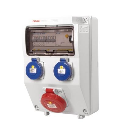 FAMATEL v166 - ZSF20100000.1 /3958 zásuvková skříň IP65 jištěná s chráničem 40/4/003 v166