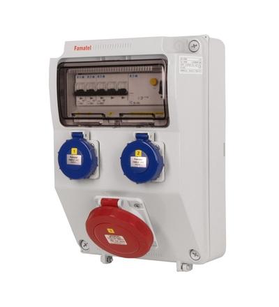 FAMATEL v196-6kA - ZSF20001000.1 /3958 zásuvková skříň IP65 jištěná s chráničem 40/4/003 v196-6kA