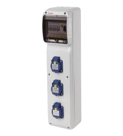 FAMATEL v279 - ZSF30000000.1 /3950 zásuvková skříň IP54 jištěná s chráničem 25/2/003 v279