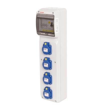 FAMATEL v287 - ZSF40000000.1 /3950 zásuvková skříň IP54 jištěná s chráničem 25/2/003 v287