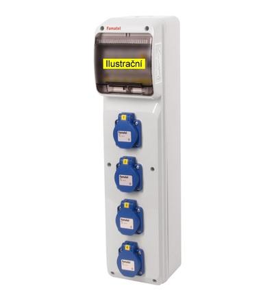 FAMATEL v288-6kA - ZSF40000000.1 /3950 zásuvková skříň IP54 jištěná s chráničem 25/2/003 v288-6kA