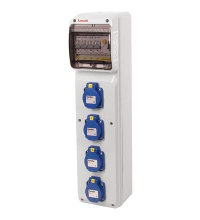 FAMATEL v288 - ZSF40000000.1 /3950 zásuvková skříň IP54 jištěná s chráničem 25/2/003 v288