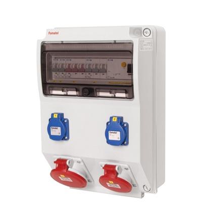 FAMATEL v310 - ZSF20101000.1 /3959 zásuvková skříň IP44 jištěná s chráničem 40/4/003 v310