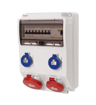 FAMATEL v3106-6kA - ZSF20101000.1 /3959 zásuvková skříň IP65 jištěná s chráničem 40/4/003 v3106-6kA