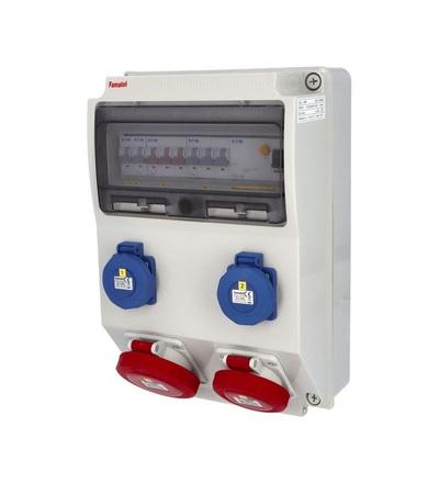 FAMATEL v3106 - ZSF20101000.1 /3959 zásuvková skříň IP65 jištěná s chráničem 40/4/003 v3106