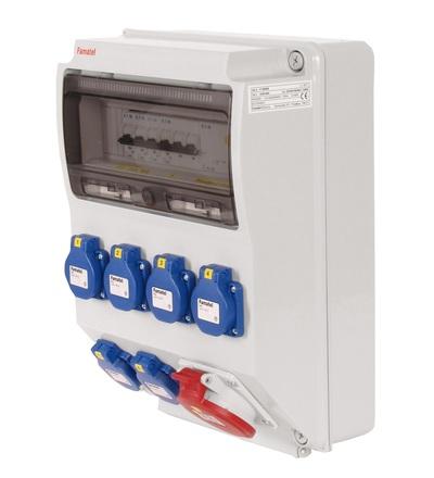 FAMATEL v350-6kA - ZSF60100000.1 /3959 zásuvková skříň IP44 jištěná s chráničem 40/4/003 v350-6kA