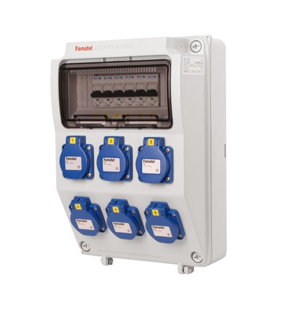 FAMATEL v372-6kA - ZSF60000000.0 /3958 zásuvková skříň IP54 jištěná bez chrániče v372-6kA