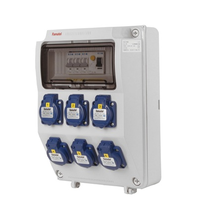 FAMATEL v373 - ZSF60000000.1 /3958 zásuvková skříň IP54 jištěná s chráničem 25/2/003 v373