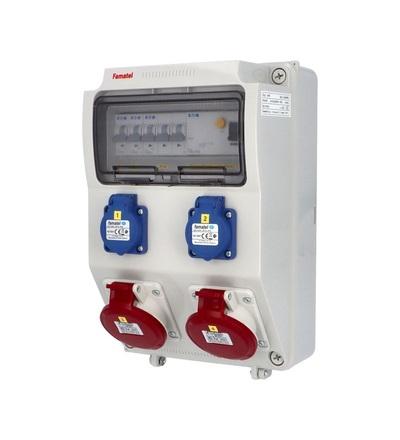 FAMATEL v410 - ZSF20200000.1 /3958 zásuvková skříň IP44 jištěná s chráničem 40/4/003 v410