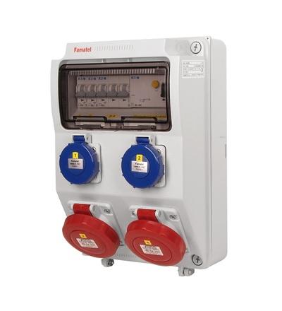 FAMATEL v4106-6kA - ZSF20200000.1 /3958 zásuvková skříň IP65 jištěná s chráničem 40/4/003 v4106-6kA