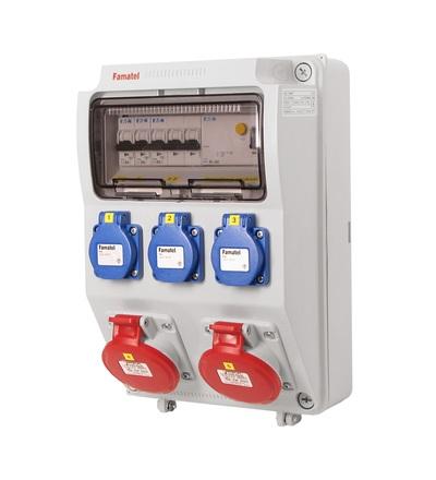 FAMATEL v520-6kA - ZSF30200000.1 /3958 zásuvková skříň IP44 jištěná s chráničem 40/4/003 v520-6kA
