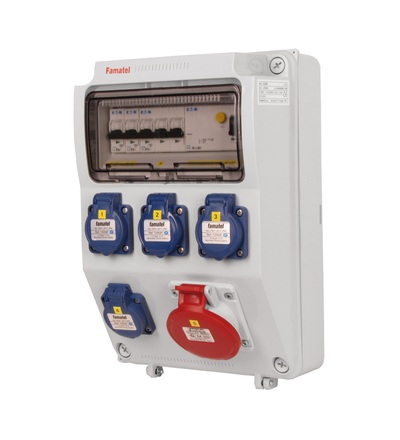 FAMATEL v570-6kA - ZSF40100000.1 /3958 zásuvková skříň IP44 jištěná s chráničem 40/4/003 v570-6kA