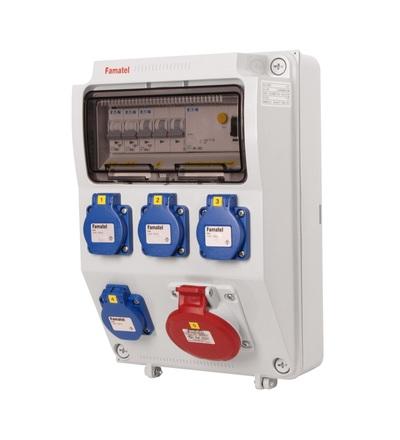 FAMATEL v570 - ZSF40100000.1 /3958 zásuvková skříň IP44 jištěná s chráničem 40/4/003 v570