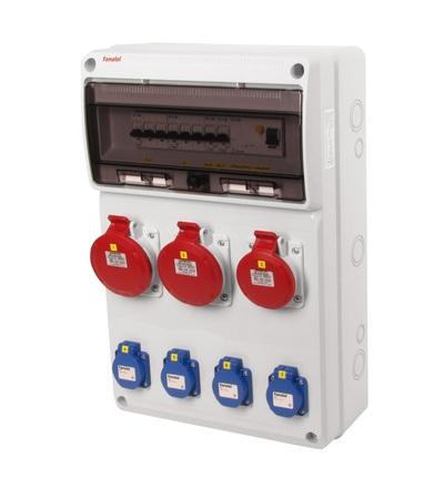 FAMATEL v632-6kA - ZSF40102000.1 /3952 zásuvková skříň IP44 jištěná s chráničem 40/4/003 v632-6kA