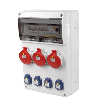 FAMATEL v672 - ZSF40003000.1 /3952 zásuvková skříň IP44 jištěná s chráničem 40/4/003 v672