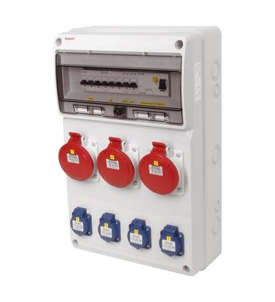 FAMATEL v673-6kA - ZSF40003000.1 /3952 zásuvková skříň IP44 jištěná s chráničem 63/4/003 v673-6kA