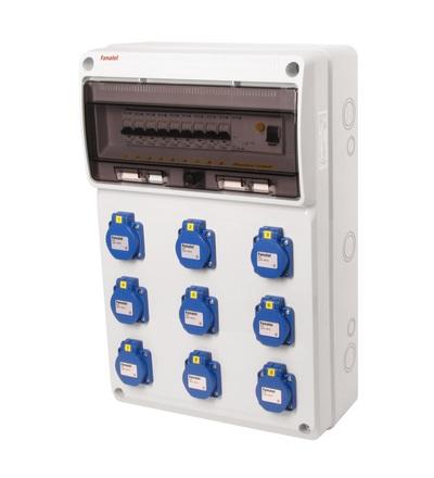 FAMATEL v760-6kA - ZSF90000000.1 /3952 zásuvková skříň IP54 jištěná s chráničem 40/4/003 v760-6kA