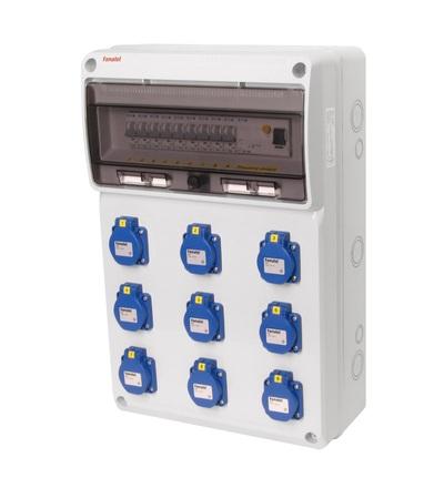 FAMATEL v760 - ZSF90000000.1 /3952 zásuvková skříň IP54 jištěná s chráničem 40/4/003 v760