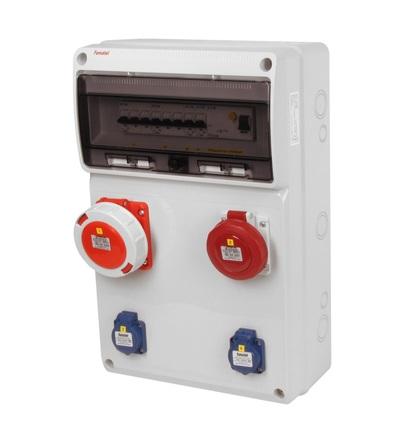 FAMATEL v815-6kA - ZSF20100010.1 /3952 zásuvková skříň IP54 jištěná s chráničem 63/4/003 v815-6kA