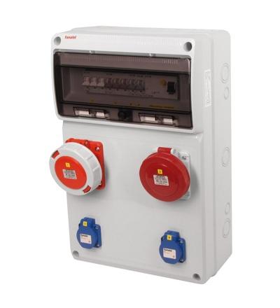 FAMATEL v825-6kA - ZSF20001010.1 /3952 zásuvková skříň IP54 jištěná s chráničem 63/4/003 v825-6kA