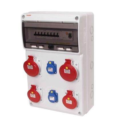FAMATEL v845-6kA - ZSF20202000.1 /3952 zásuvková skříň IP44 jištěná s chráničem 40/4/003 v845-6kA