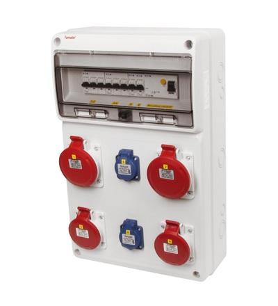 FAMATEL v847-6kA - ZSF20202000.1 /3952 zásuvková skříň IP44 jištěná s chráničem 63/4/003 v847-6kA