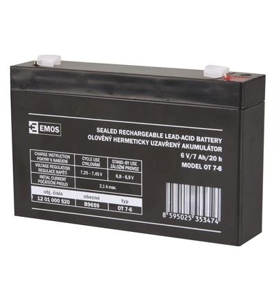 Emos Bezúdržbový olověný akumulátor 6 V/7 Ah, faston 4,7 mm B9659