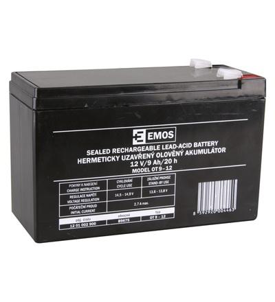Emos Bezúdržbový olověný akumulátor 12 V/9 Ah, faston 6,3 mm B9675