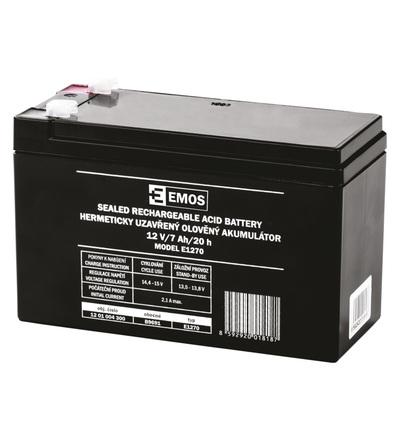 Emos Bezúdržbový olověný akumulátor 12 V/7 Ah, faston 4,7 mm B9691