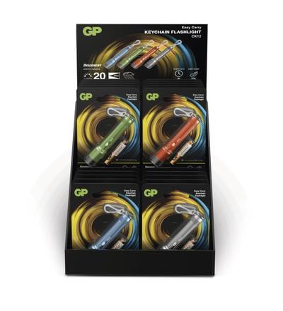 LED ruční svítilna GP CK12, 20 lm, 1× AAA, 16 kusů, 4 barvy P8502A