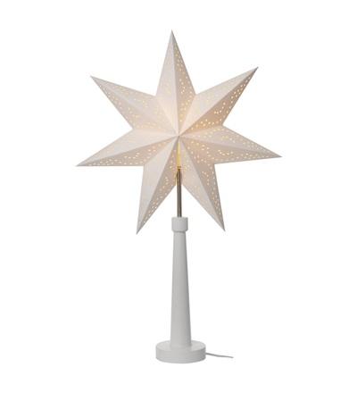 Svícen na žárovku E14 bílý s papírovou hvězdou, 46×70cm, vn. ZY2213