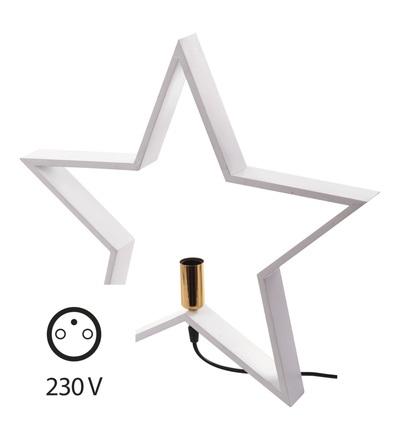 Svícen na žárovku E14 dřevěný bílý, hvězda, 48cm, vnitřní ZY2214