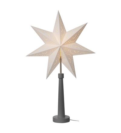 Svícen na žárovku E14 šedý s papírovou hvězdou, 46×70cm, vn. ZY2215