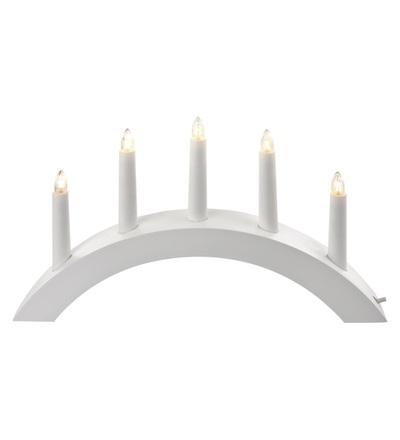 Svícen na 5× žárovičku E10 dřevěný bílý, oblouk, 40×28cm, v. ZY2217