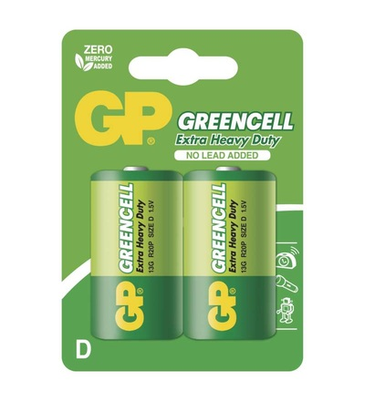 Zinková baterie GP Greencell D (R20) B1241