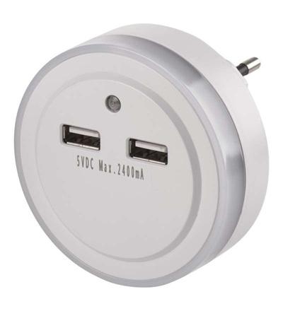 Emos LED noční světlo P3313 do zásuvky s 2× USB P3313