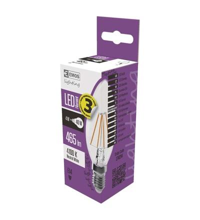 LED žárovka Filament Candle A++ 4W E14 neutrální bílá Z74214