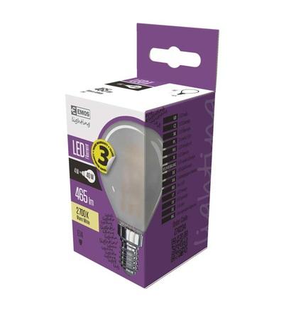 LED žárovka Filament Mini Globe matná 4W E14 teplá bílá Z74234