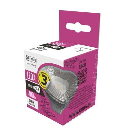 EMOS LED žárovka Classic MR16 4,5W GU5,3 neutrální bílá ZQ8434