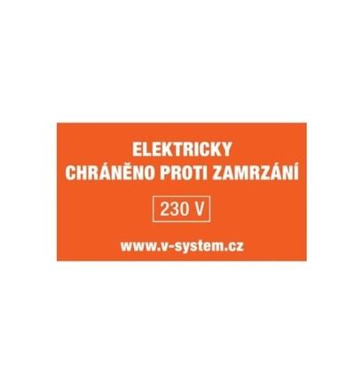 Textový štítek pro zařízení s řídicím obvodem samolepka Elektricky vyhříváno V-systém 7501