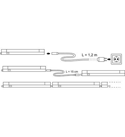 TRACON Nábytkové LED T5 svítidlo, 5W, neutrální bílá, propojitelné LBV5NW