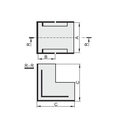 Vnější úhel pro EIP 60040, typ UO60040, POLYPROFIL