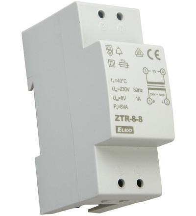 ELKO EP ZTR-8-8 Zvonkový tranf.,zkratuvzdorný, 8V,8VA,2-modul 3680