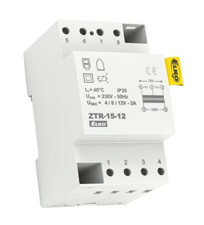 ELKO EP ZTR-15-12 Zvonkový transformátor, zkratuvzdorný, 12V,15VA,3-modul 3928