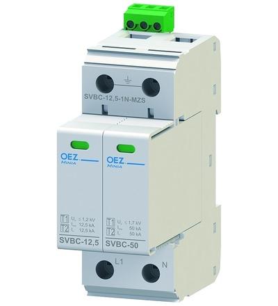 OEZ:40618 Kombinovaný svodič bleskových proudů a přepětí SVBC-12,5-1N-MZS