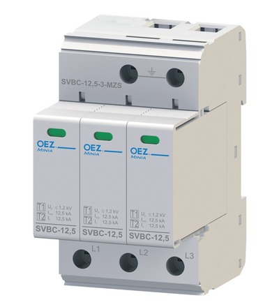 OEZ:40619 Kombinovaný svodič bleskových proudů a přepětí SVBC-12,5-3-MZ