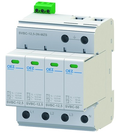 OEZ:40622 Kombinovaný svodič bleskových proudů a přepětí SVBC-12,5-3N-MZS