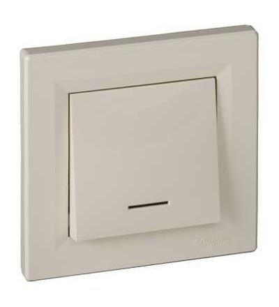 EPH1600123 Asfora, tlačítkový ovládač (1/0) orient. podsv., 10A 250VAC, pruž., krémová, Schneider Electric