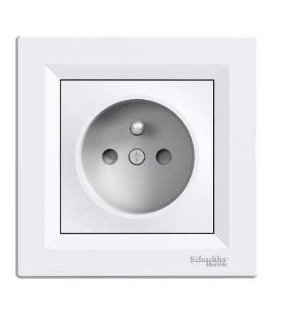 EPH2800221 ASFORA zásuvka jednonásobná, clonky, bílá, Schneider Electric