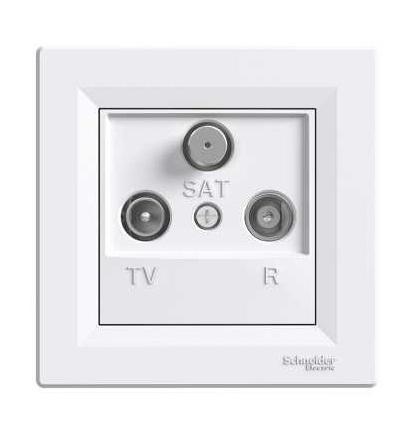 Schneider Electric EPH3500321 Asfora, zásuvka TV-R-SAT, průběžná, 8 dB, bílá